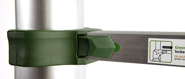 close up on xtend + climb telescoping ladder rung, easy to use lock and release
